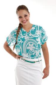669f5675ba Blusa Camisa Soltinha Estampada Gola V Verde Rosa Evangélica