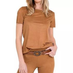 fd28b30085 Blusa Camisa Suede T-shirt Feminino Moda Promoção
