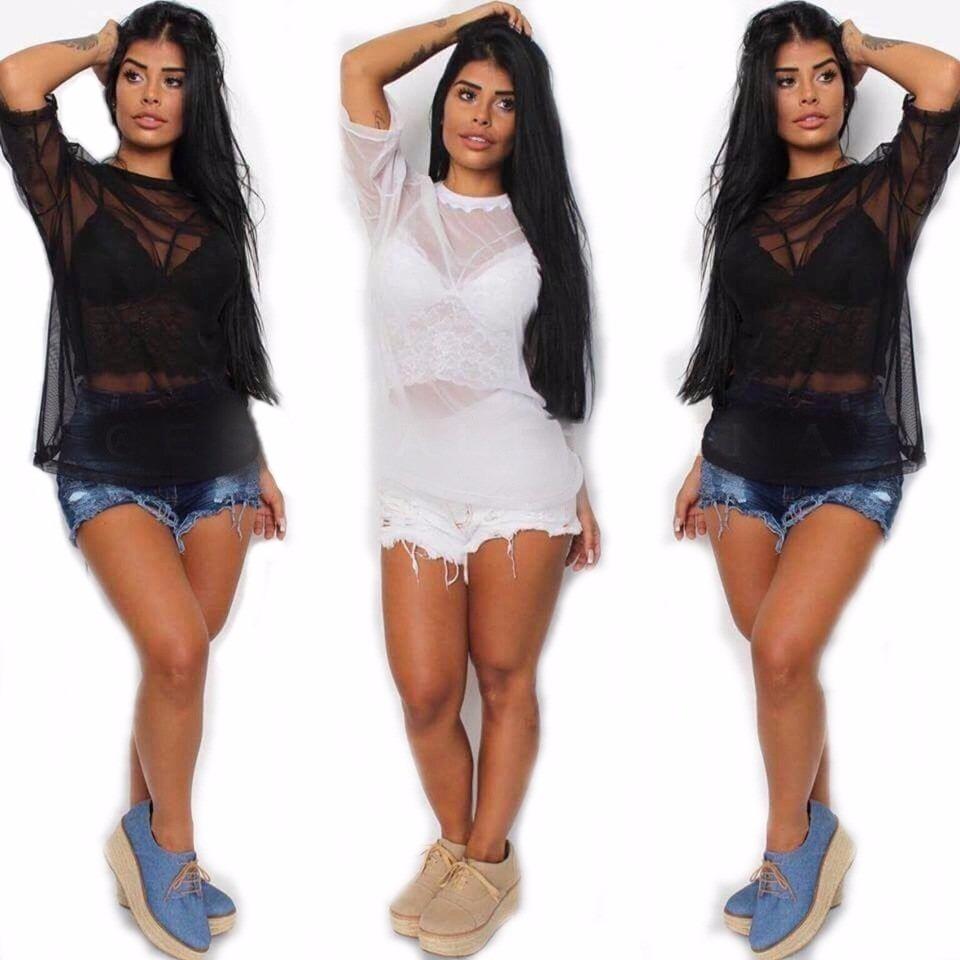 mejor baratas 4b490 8a15b Blusa Camisa Tule Transparente Moda Instagram Blogueiras