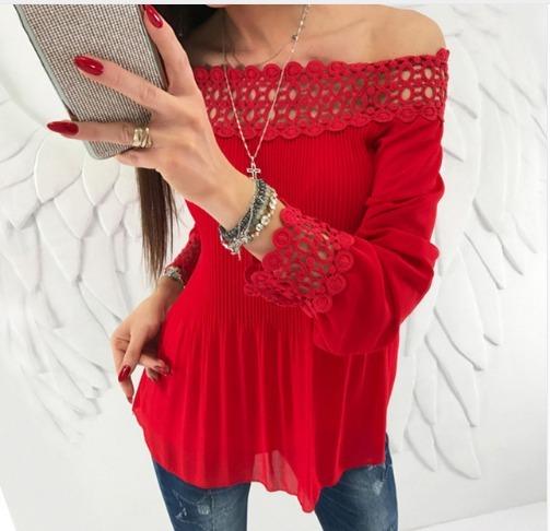 905490734b Blusa Camisa Vermelha Renda Plissada - R  80