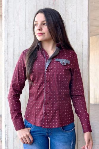 blusa camisa vino tinto y gris en mini prints manga larga