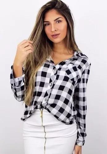 639d9ab4c3 Blusa Camisa Xadrez Feminina Preto E Branco - R  65