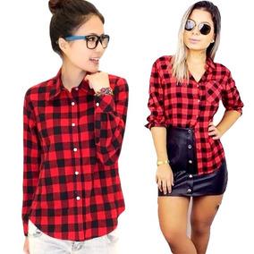 c1127c82f Camisa Xadrez Vermelha Tamanho M - Camisa Manga Longa Feminino M ...