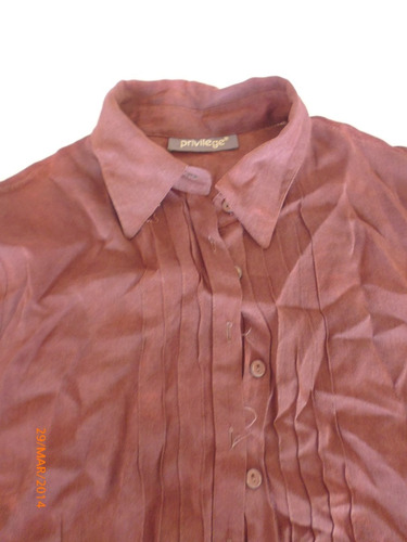 blusa camisera color chocolate talla 40