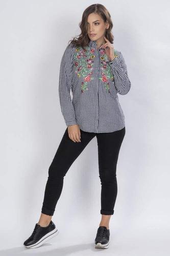 blusa camisera cuadros bordada unico-n81229-uni a1