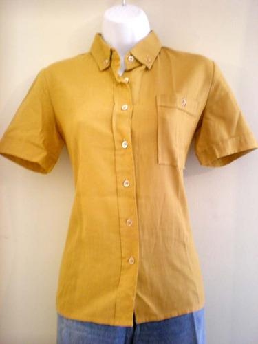 blusa camisera de algodón manga corta hecha en francia