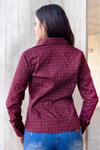blusa camisera vino tinto en mini prints