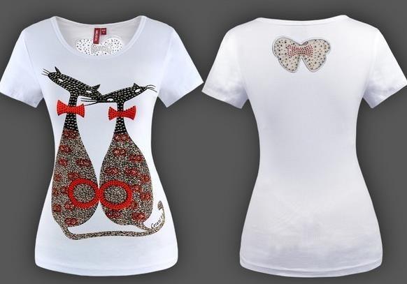 4230eb4de33f Blusa Camiseta Bordada Gato Paetê Super Fashion