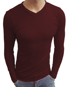 d5c52f656f Camisa Camiseta Gola V Rasa Masculina Viscolycra Manga Longa