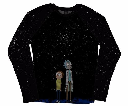 blusa camiseta manga longa raglan rick and morty series geek
