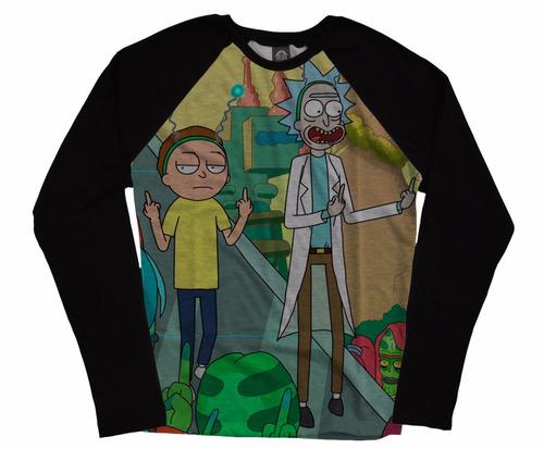 blusa camiseta manga longa raglan series cool rick and morty