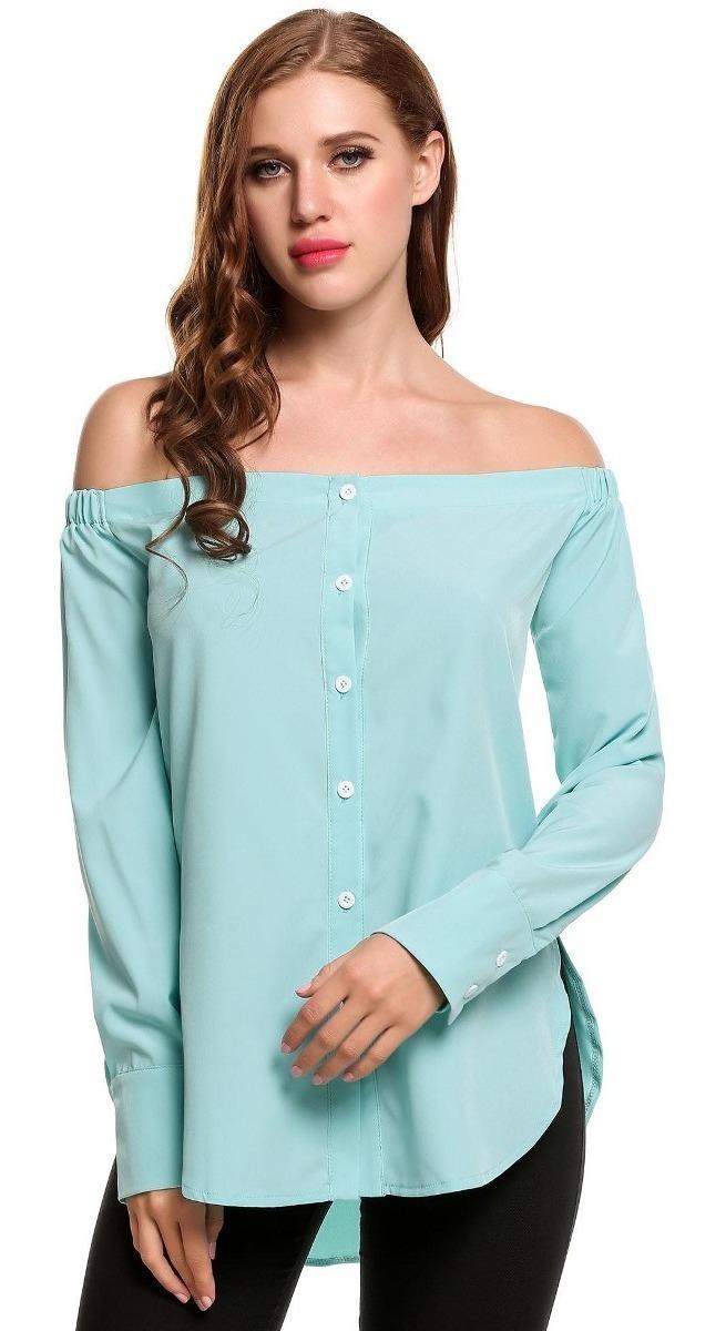 9e0e43ce7695 Blusa Camiseta Mujeres Moda Manga Larga Con Botones Sólidos