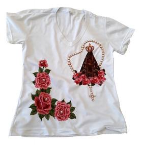 0a46c5e5de66 Blusa Camiseta Nossa Senhora Aparecida Bordada Pérolas R 1