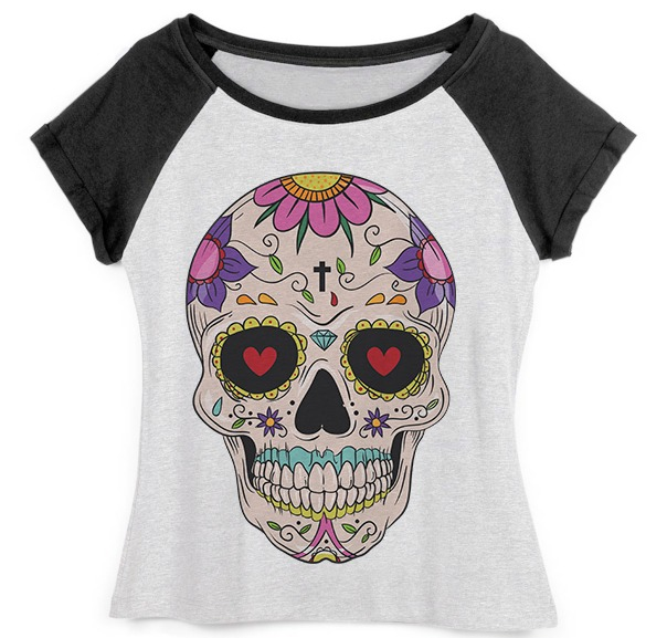 5b00d4eaf Blusa Camiseta Raglan Feminina Caveira Mexicana - R  42