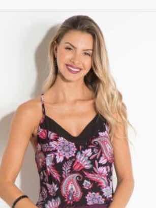 8ffc30d12c Blusa Camiseta Regata Feminina Estampada Floral Em Viscose - R  23 ...
