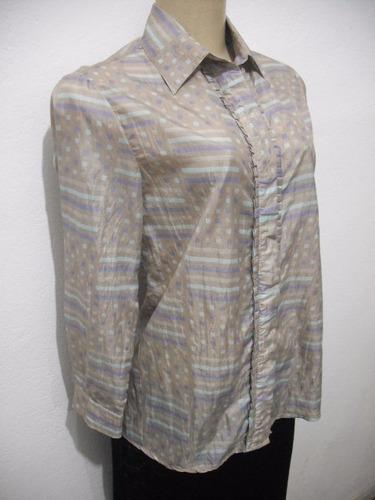 blusa camisete tafeta tam m cinza azul usado bom estado