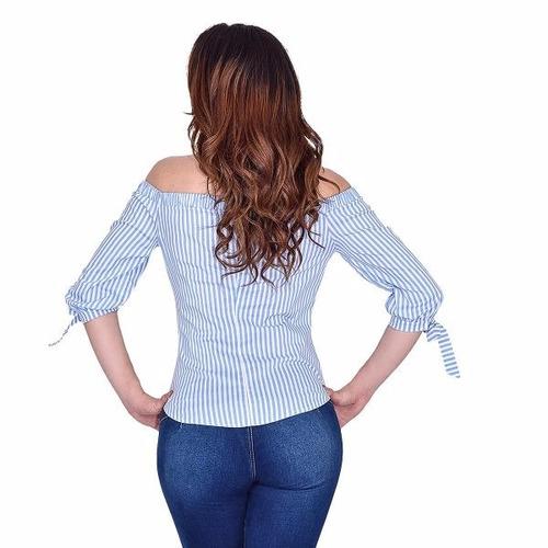 blusa campesina a rayas y estampada unico color