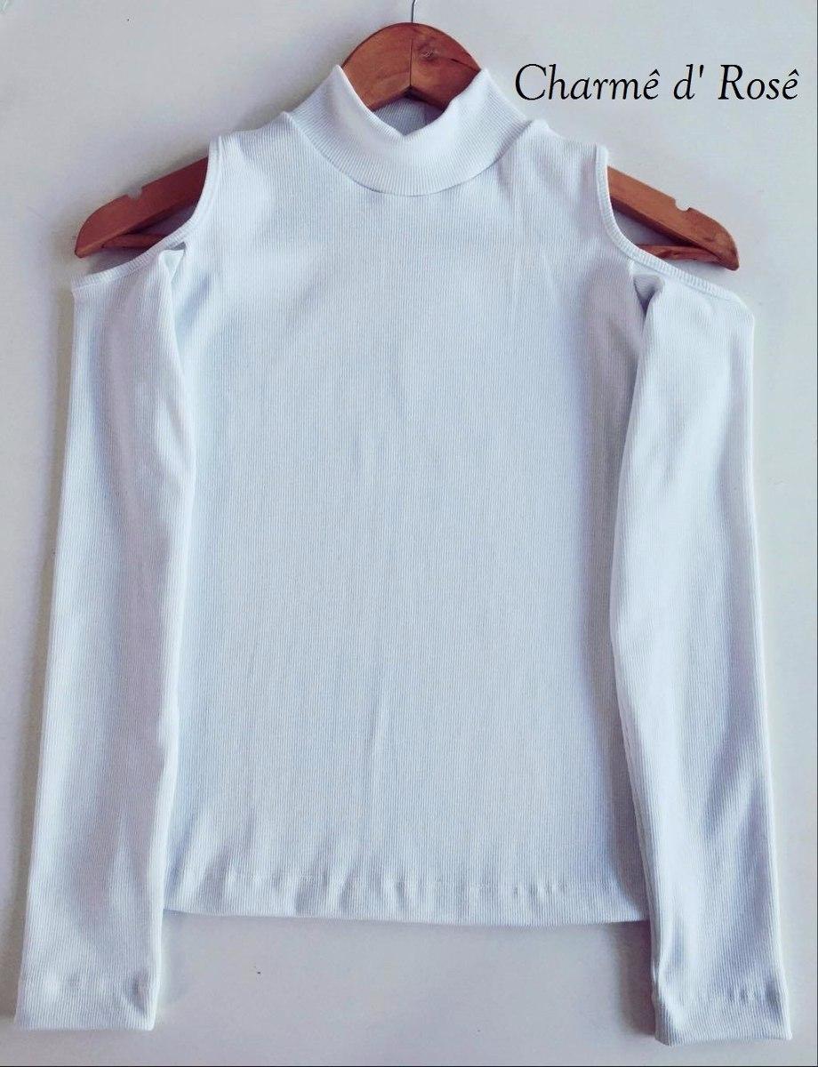 ae5d9deb05 blusa canelada ombro de fora gola alta manga longa frio. Carregando zoom.