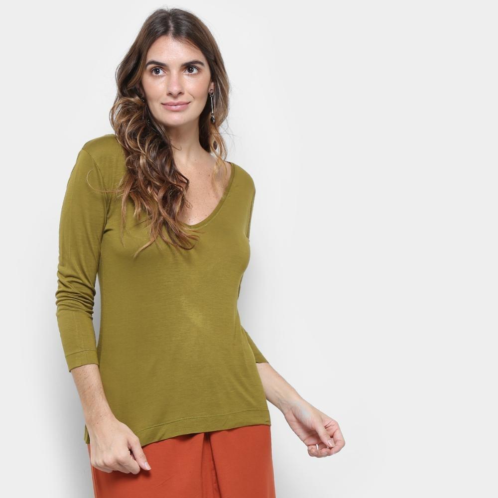 55b51e08d3 blusa cantão decote v malha viscose feminina. Carregando zoom.