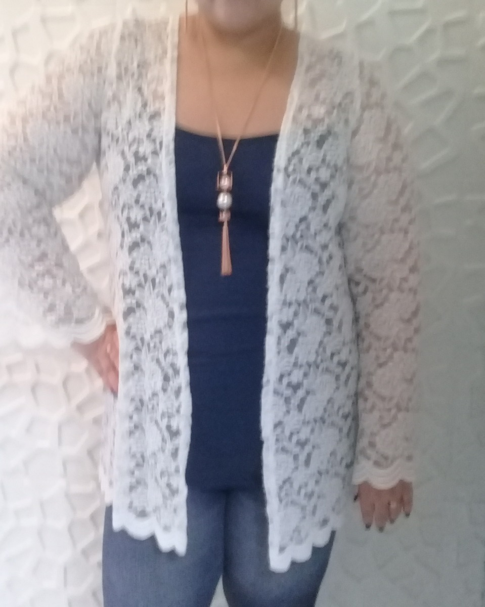 15125ea6c9 blusa cardigan jaqueta casaco renda plus size manga sino. Carregando zoom.
