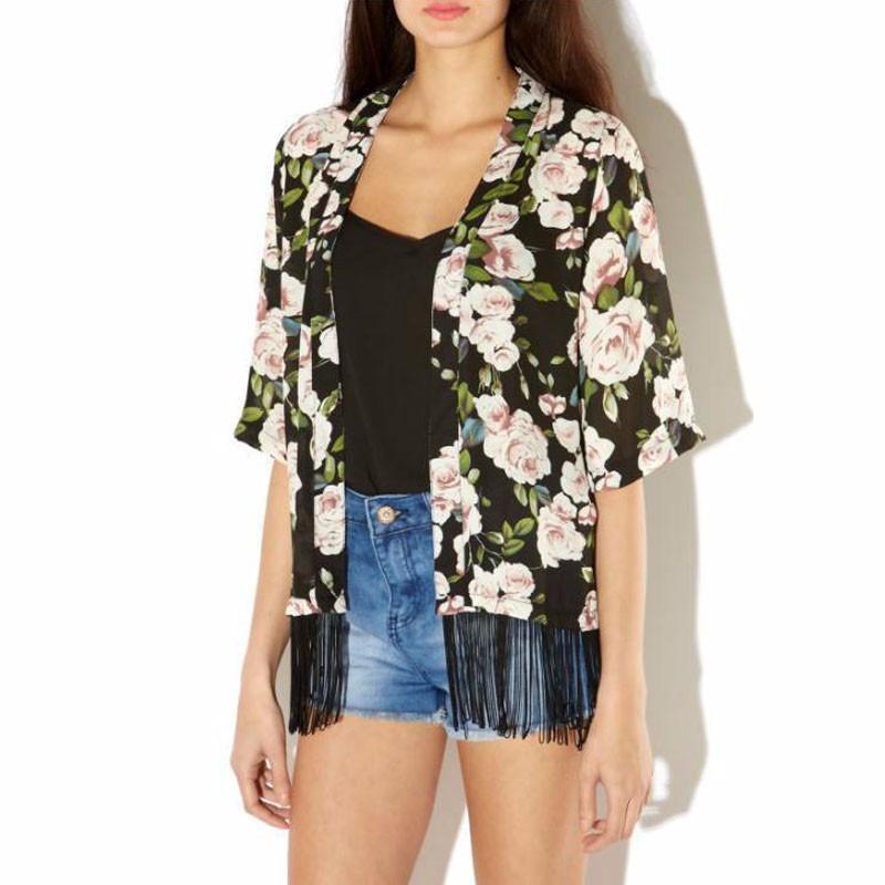 72d50f601b blusa cardigan kimono casaquinho verão manga curta franja. Carregando zoom.