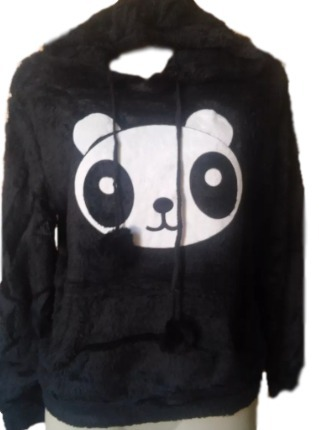 82c07178c Blusa Casaco Feminino Pelo Macio Felpuda Panda Capuz Touca - R$ 84 ...