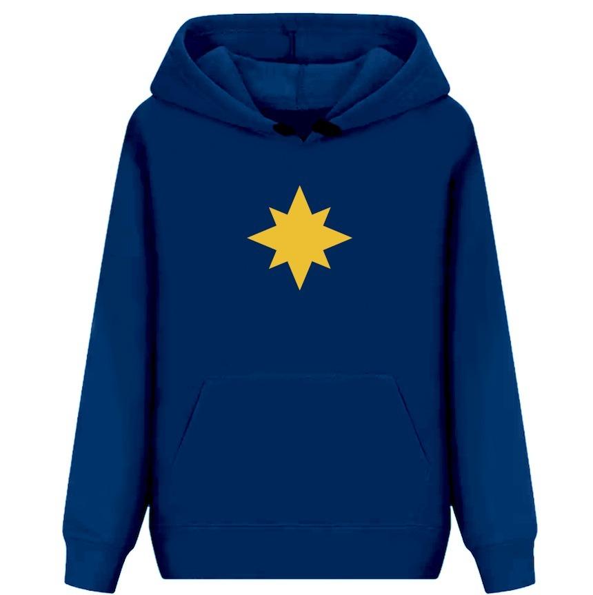 Blusa Casaco Moletom Azul Capitã Estrela Marve Mc - R  80 efbdb169d8795