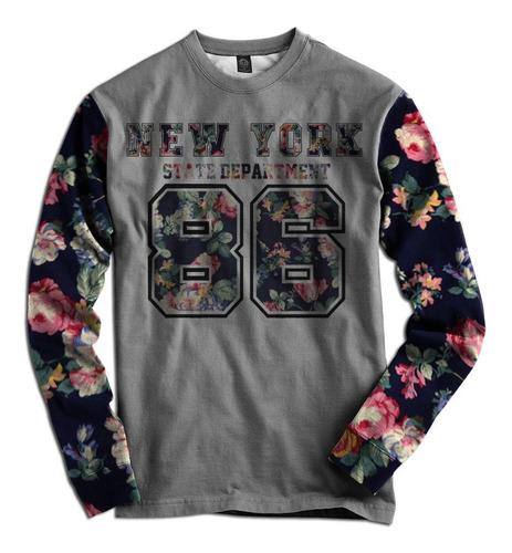 blusa casaco moletom flanelado manga floral new york 86