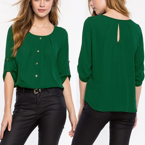 blusa casual de oficina -primavera cuello redondo talla-m