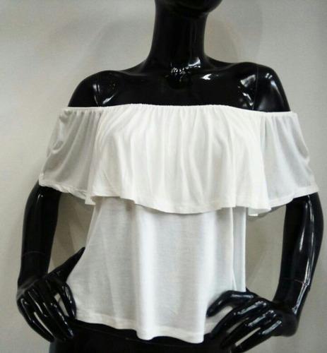 blusa casual descubierto de hombros