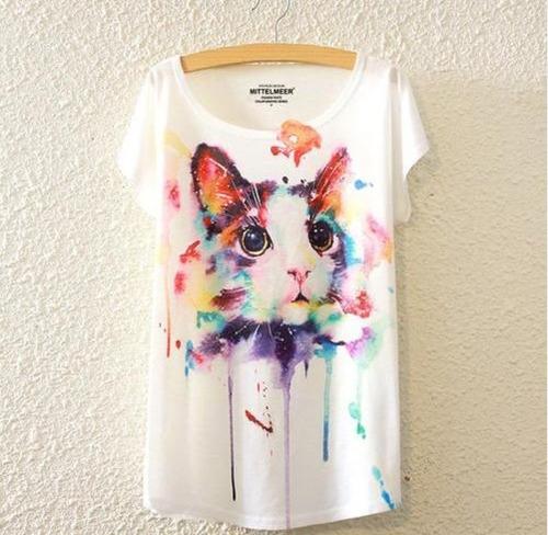 blusa casual,material fresco y colorido estampado de gato