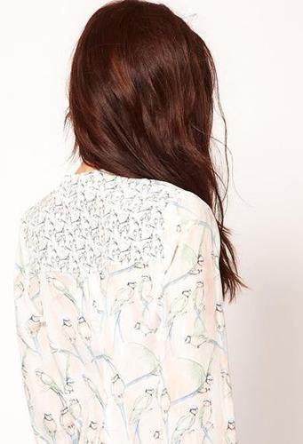 blusa chiffon feminina camisa pássaros importada seda pura