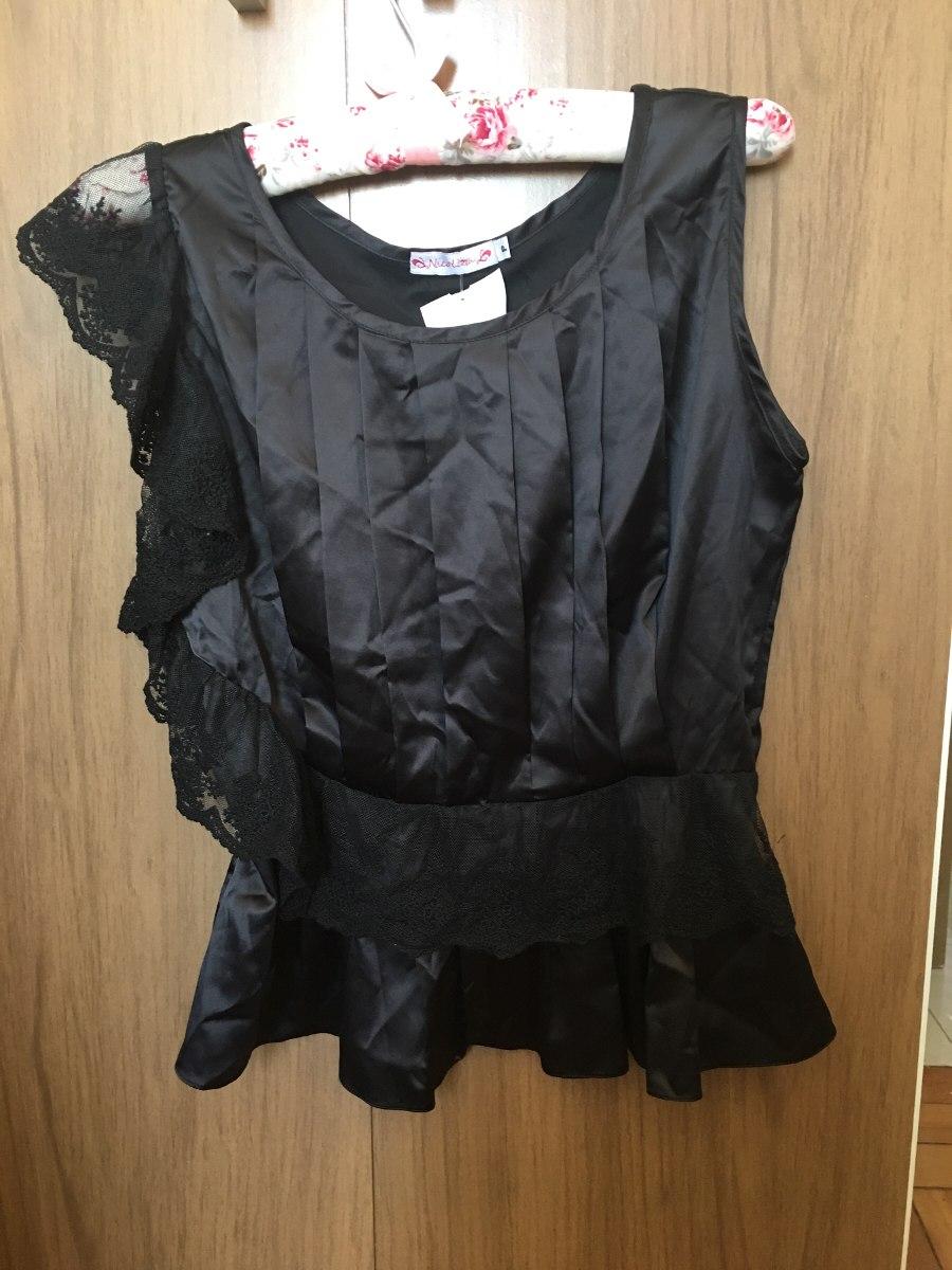7157a9952c blusa chique renda com cetim preta p. Carregando zoom.