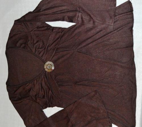 blusa chocolate con volados y lindo aplique algodon t 40-42