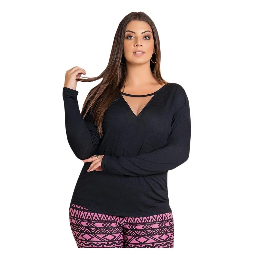 20ee51c69afb0d Blusa Com Detalhe Transparente Preta Quintess Plus Size - R$ 69,50 ...