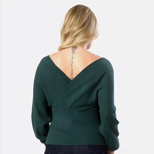 blusa com gola v frente e atrás feminina