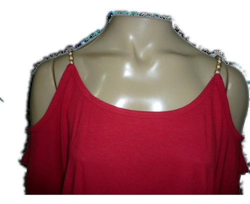 blusa com ombros de fora alça corrente com perola no meio  &