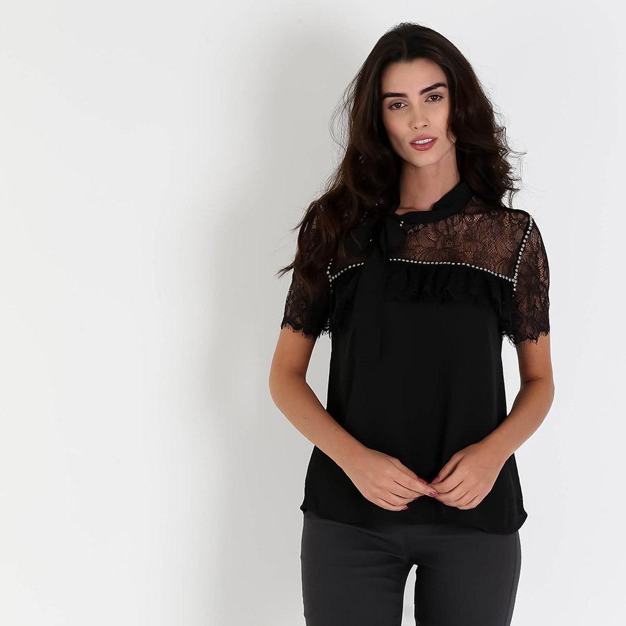 b71d60a0a7 blusa com renda floral feminina road mel - preto. Carregando zoom.