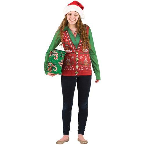 Blusa Con Chaleco Feo De Navidad Talla L Para Mujer - -   1 7a6d23232a8d