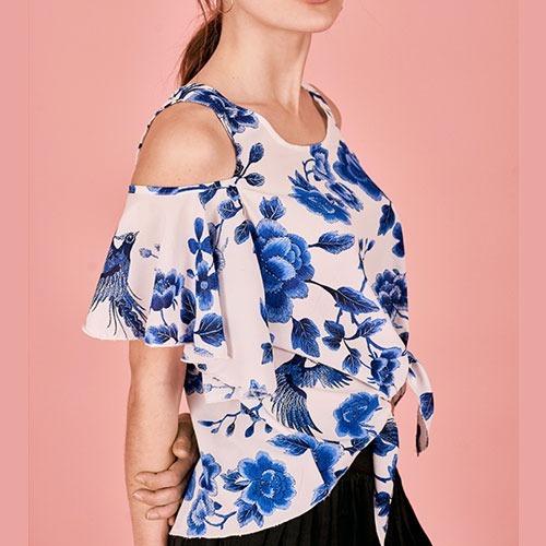 lazo de descubierto con hombro blusa y azules oferta flores tq0zwB