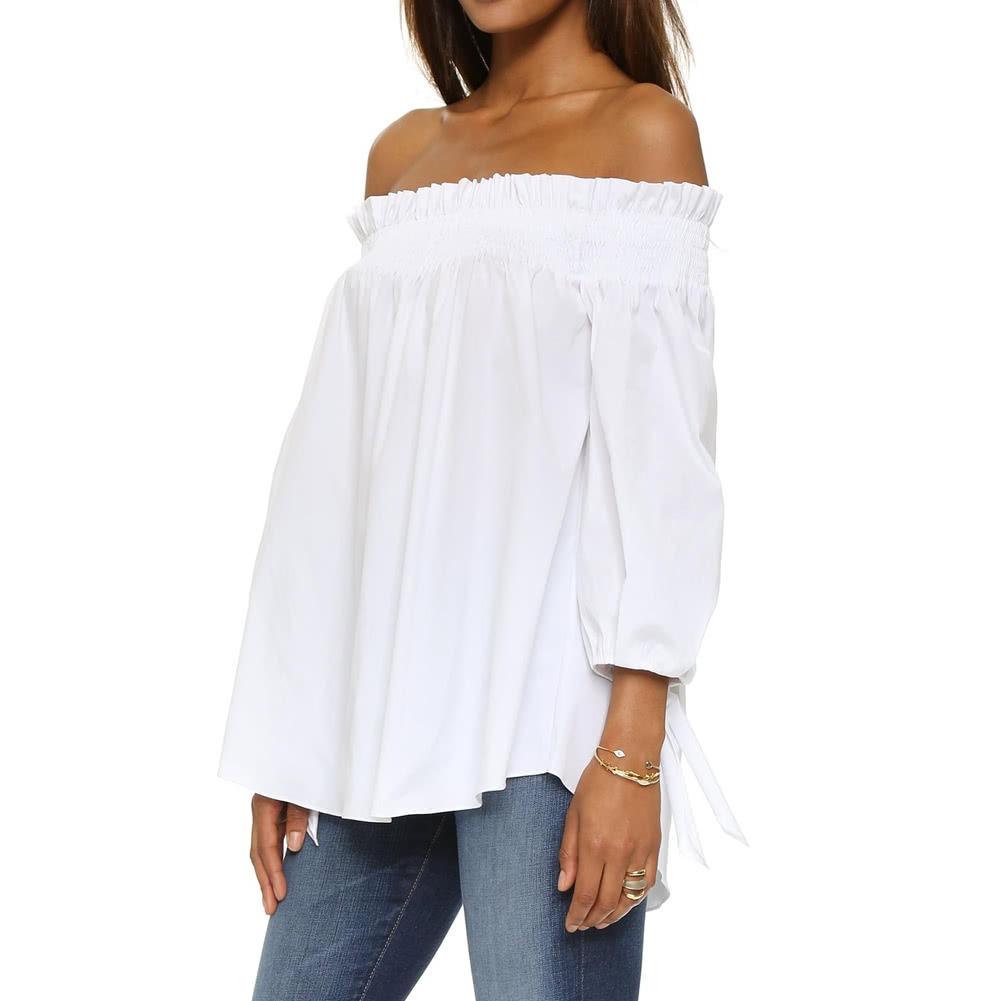 mayor selección de grande descuento venta busca lo último Blusa Con Hombros Descubiertos Para Mujer, Camisa Blanca S