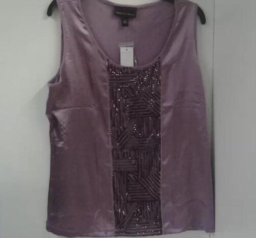 blusa con lentejuelas moradas tipo seda