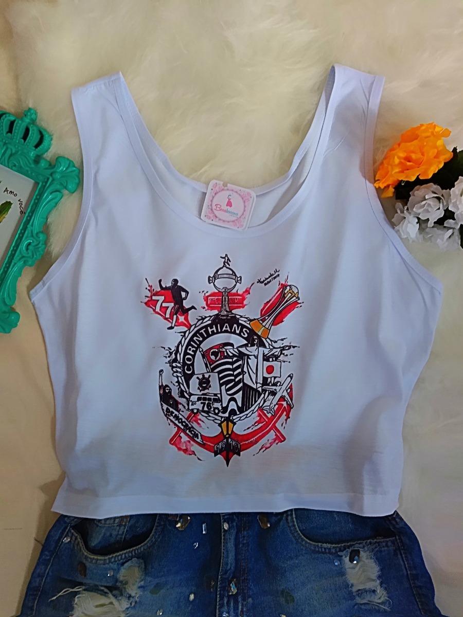 Blusa Corinthians Feminina Camiseta Cropped Regata Barato! - R  27 ... 646a2f8126ccf