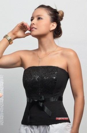 blusa corset lentejuelas strapless negro ¡no pagas envío!