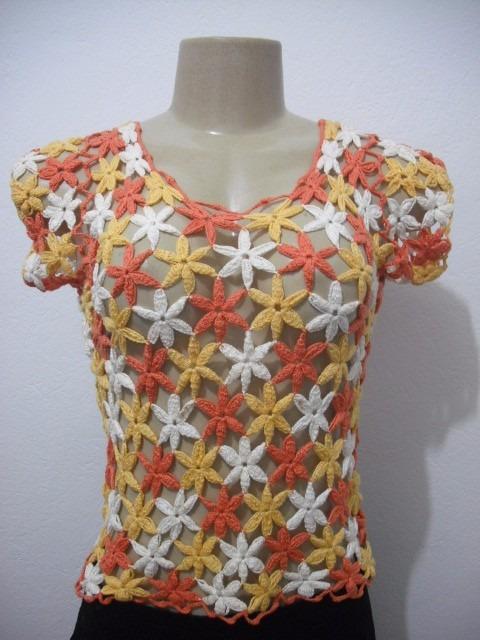 39d6629b1743ba Blusa Croche Flor Colorido Veste P E M Usado Bom Estado - R$ 30,00 ...