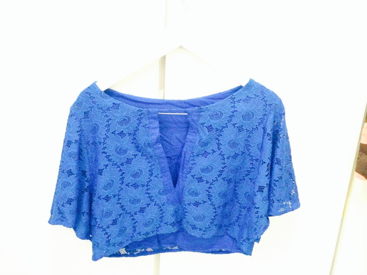 blusa cropped azul de renda. Carregando zoom. 17f522c177ff8