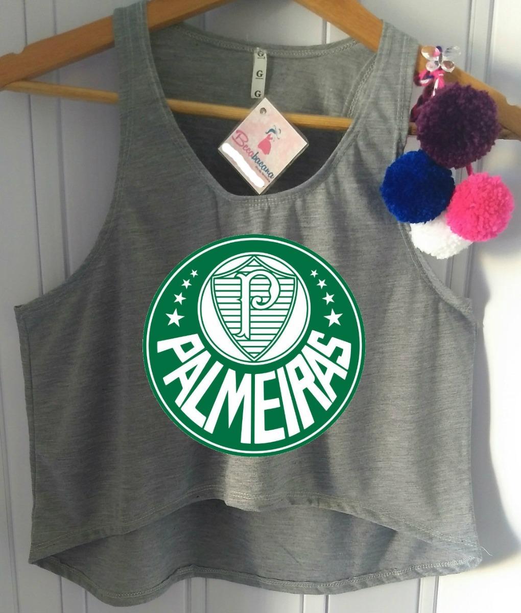 014cb2aef5f38 Blusa Cropped Palmeiras Verdão Time Futebol Camiseta Barato! - R  46 ...
