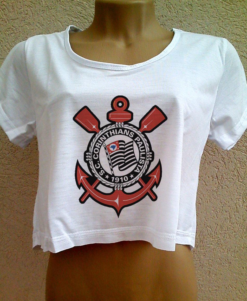 Blusa Cropped Corinthians Feminina Com Manga Camiseta Timao - R  26 ... 9c98006449f37