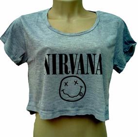7020fd5800 Blusa Cropped Nirvana Feminina Kurt Banda Rock Cinza Manga