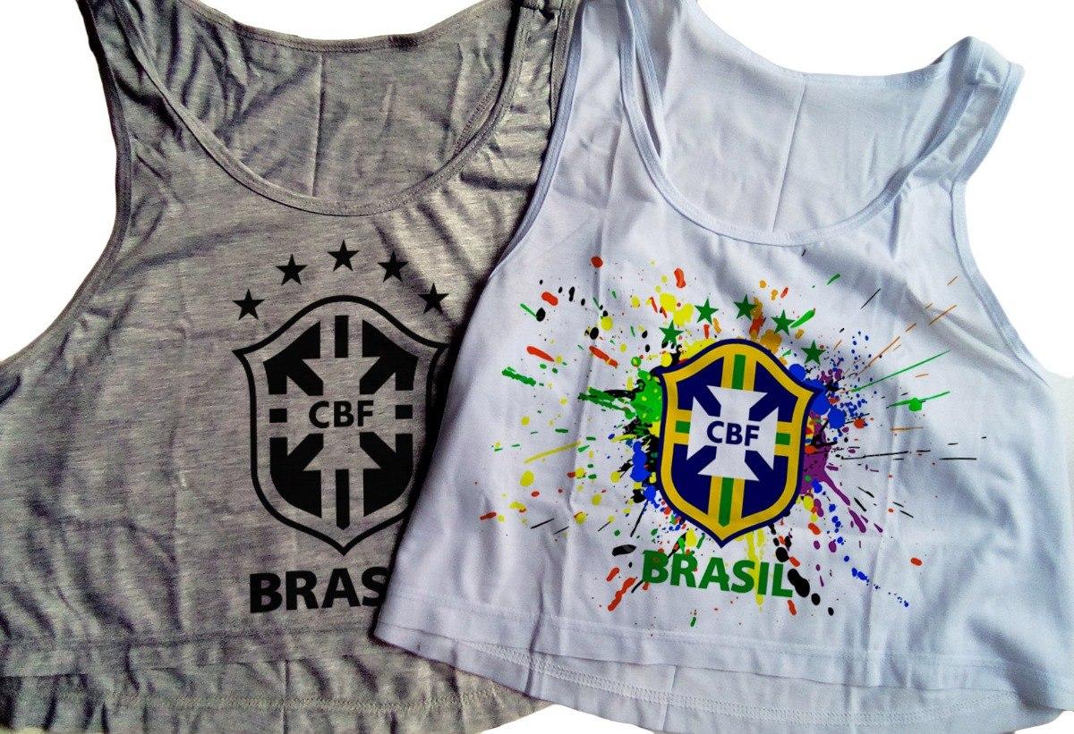 Kit 2 Blusa Cropped Brasil Feminina Copa Regata Camiseta - R  46 bd6cac95143